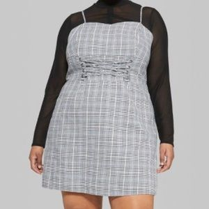 Lace up checkered dress
